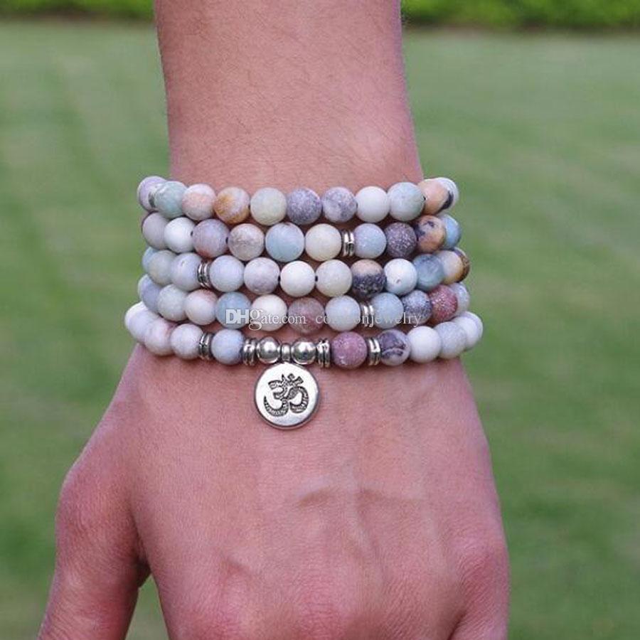 Women Men Jewelry 6mm Matte Amazonite Stone Beads OM Charm Strand ...