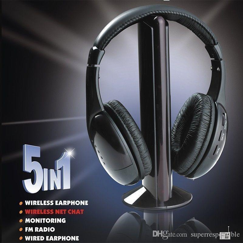 5 in 1 HiFi Wireless Headphone Earphone Headset FM Radio Monitor MP3 Audio auriculares mikrafon Earphone Cordless Headset