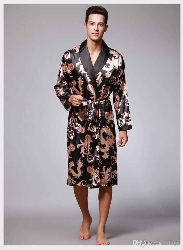 2019 2017 Men S Robe Fashion Printed Long Sleeve Male Bathrobes