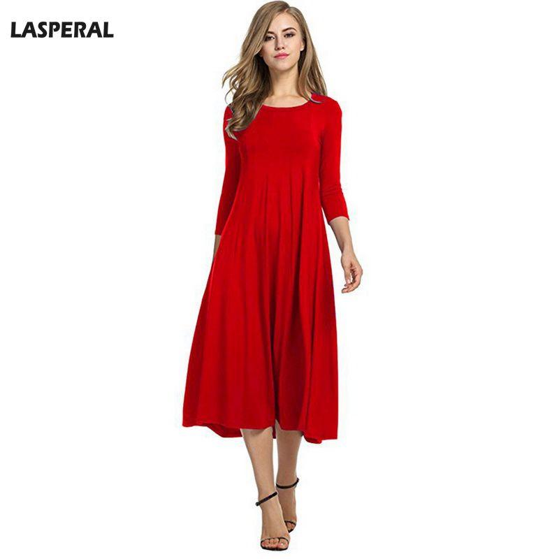 2019 LASPERAL New Year Party Dress Elegant Women Pleated Dresses 2018  Spring Fashion Red Long Vestido Round Neck Slim Dress Plus Size From  Piaose 889af1916d10