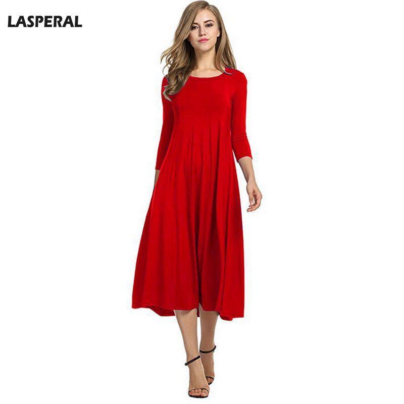 buy online 21c34 e6669 LASPERAL Vestito da festa di capodanno Elegante Abiti pieghettati da donna  2018 Moda primaverile Rosso Lungo Vestido Girocollo Vestito sottile Plus ...