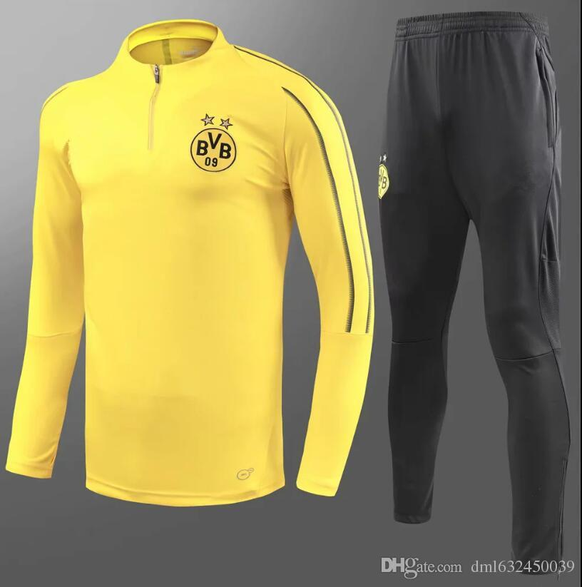 Compre 2018 2019 Borussia Dortmund Chándal Chaqueta Set Hombres Kit De  Manga Larga Pantalones Traje De Entrenamiento De Fútbol Borussia Aubameyang  Reus Ropa ... a6e581c3dda05