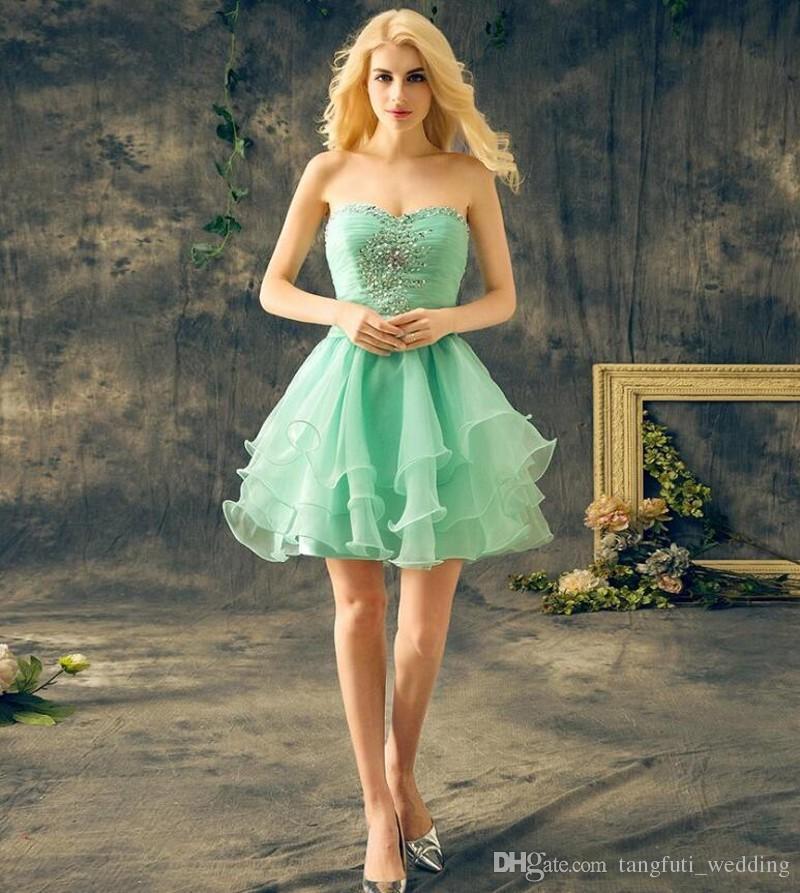 4d731e4633d6 Mint Green Short Homecoming Dresses Sweetheart Crystal Ruffles 8th Grade Prom  Dress Junior High Cute Graduation Dress Mezuniyet Elbiseleri Cheap  Homecoming ...
