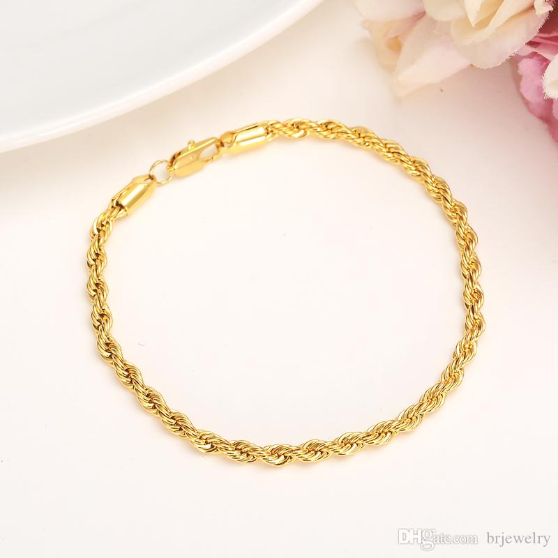 2019 new twisted rop chain necklace bracelet gold filled