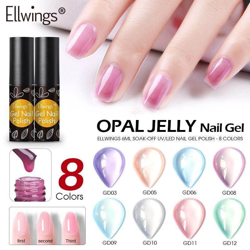 Ellwings Opal Jelly Gel Semi Transparent Varnish Soak Off UV Gel Nail Polish UV Nail Polish Art Manicure Nail Art Designs Acrylic Nails From Appleeye, ...