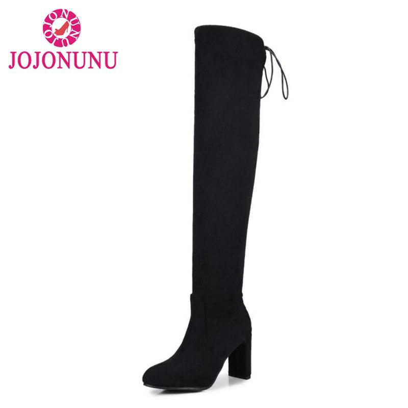 JOJONUNU Plus Size 32-48 Women High Heels Stretch Boots Lace Up Winter Shoes For Women New Fashion Keep Warm Thigh High Boots