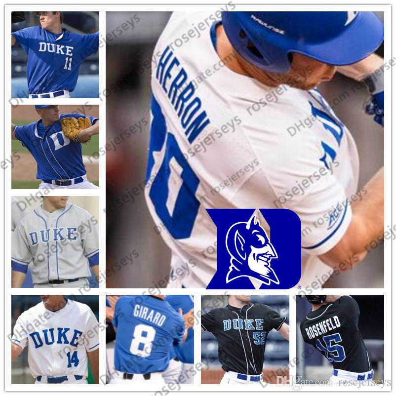 low priced c9791 07aed NCAA Duke Blue Devils #15 Kennie Taylor 23 Chris Proctor 33 Adam Laskey Men  Youth Kid White Royal Black 2019 College Baseball Jersey