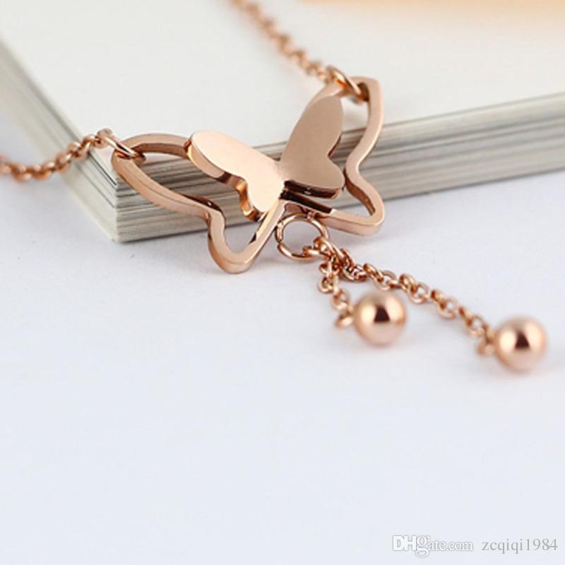 Fashion Butterfly Pendant Tassel Rhinestone Ankle Bracelet Titanium Steel Anklet Beach Foot Chain For Women Girls