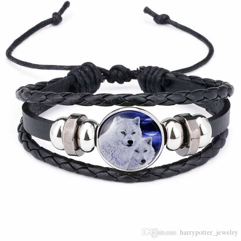 Moon Wolf Howling Handmade in vetro Cabochon in pelle intrecciata Bangles Mens Black Punk Animal Bracelet Jewelry Moonlight in pietra preziosa drop ship 320054