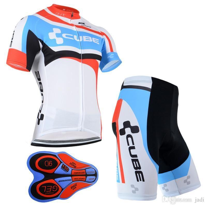 2017 Man Cycling Jersey CUBE Team Short Sleeve Bib Shorts Sets Ropa ... ce3e40c2a