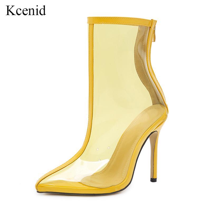 b98c4bb8e Compre Kcenid 2018 Outono Mais Novo Mulheres Ankle Boots De PVC Com Zíper  Sexy Dedo Apontado De Salto Alto Transparente Mulheres Botas Botas Sapatos  De ...