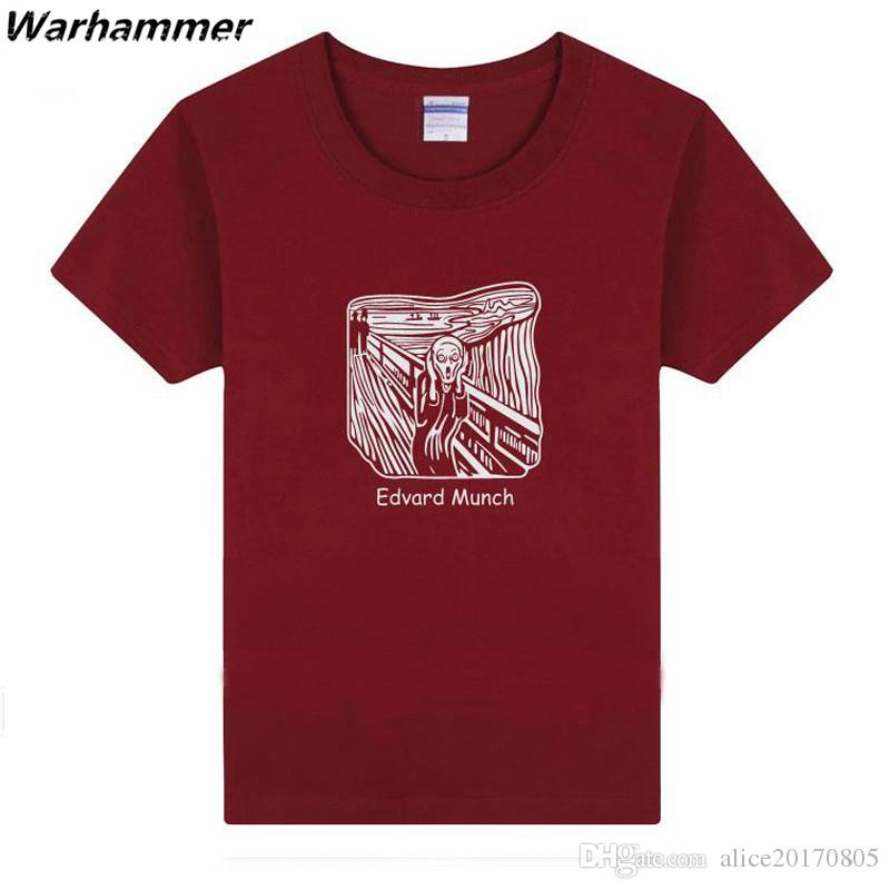 Warhammer The Scream Edvard Munch T-shirt Men Summer New TV Movie Fans O-Neck Short Sleeve Cotton 3XL Tee Shirt Homme Drop Shipping