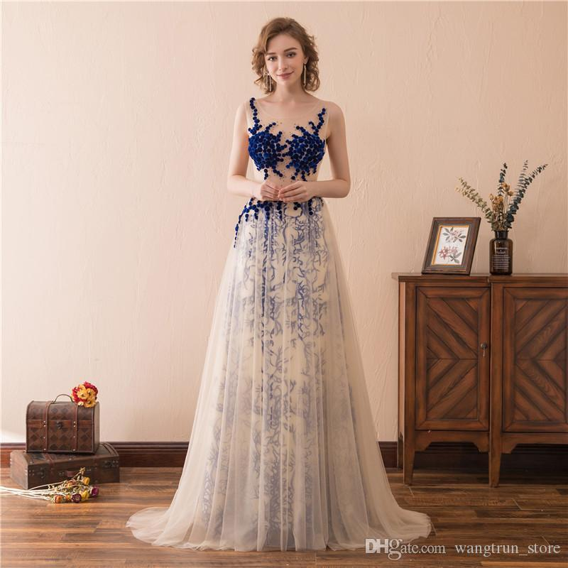 Sexy Illsuion Bodice Elie Saab Evening Gowns 2019 Abendkleider Scoop Neckline Tulle Over Lace Prom Dresses Party Gowns Back See Through