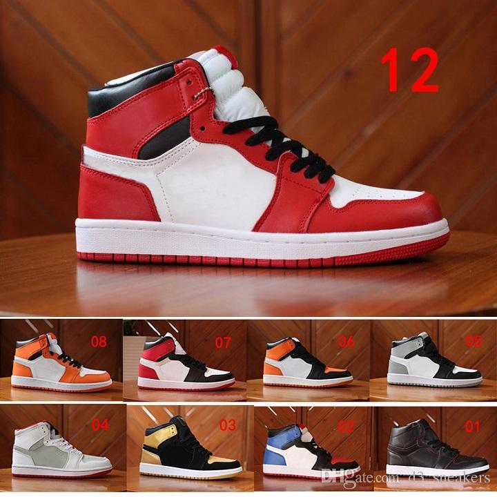 75ef1c2a6bbac Acheter NIKE Jordan 1 Retro Basketball shoes Chicago Haute OG Rouge Blanc  Hommes Casual Chaussures De Plein Air 1s I Formateurs De Haute Qualité 5  US13 ...