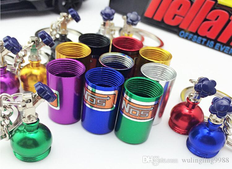 NOS Turbo Botella de Nitrógeno de Metal Llavero Llavero Titular del coche Llavero Colgante de Joyería para Mujeres Hombres Único Mini Llavero
