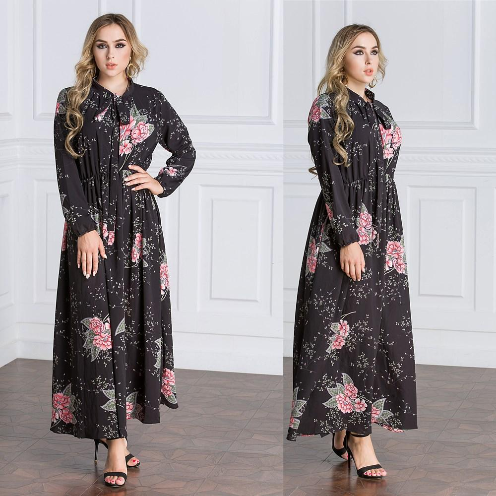 ecc0d4aef59 Spring Summer Muslim Dresses 2018 New Casual Paris Pearl Chiffon Ethnic  Robes Black Large Size Empire Floral Long Sleeve Ankle Length Skirt Long  Sleeve ...
