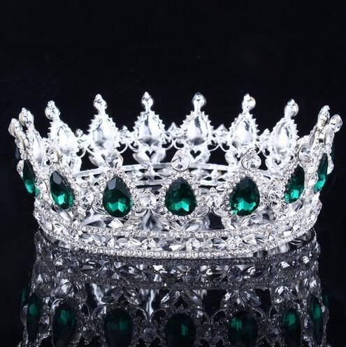 Luxus Vintage Gold Hochzeit Krone Legierung Braut Tiara Barock Königin König Krone Gold Farbe Strass Tiara Krone