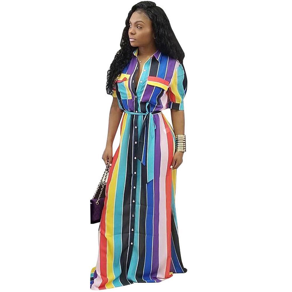8eaabff3abc2d Short Sleeve Striped Shirt Dress Women Turn Down Collar Button Belted  Blouse Long Dress Summer Casual Elegant Maxi Party Dresses Womens  Sundresses Womens ...