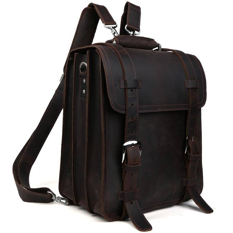 9070aaf2e122 TIDING Cowhide Leather Rucksack Men Genuine Leather Backpack Travel Carry  On Suitcases 11114 Travel Backpacks Small Backpack From Feetlove, $254.07   DHgate.