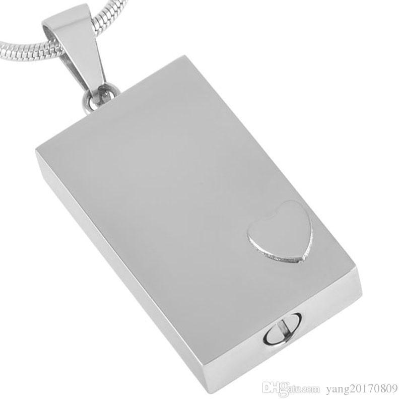 Rectangle with Small Heart Charm Cremation Urn Necklace Engravable Stainless Steel Memorial Ashes Pendant DJX2477