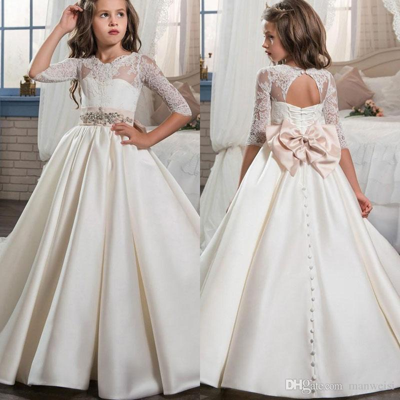 9313a39d2bc 2018 New Satin Flower Girls Dresses Lace Hlaf Long Sleeves Pageant Dress  Floor Length Princess Ball Gowns Ivory Tulle Flower Girl Dresses Latest  Dresses For ...