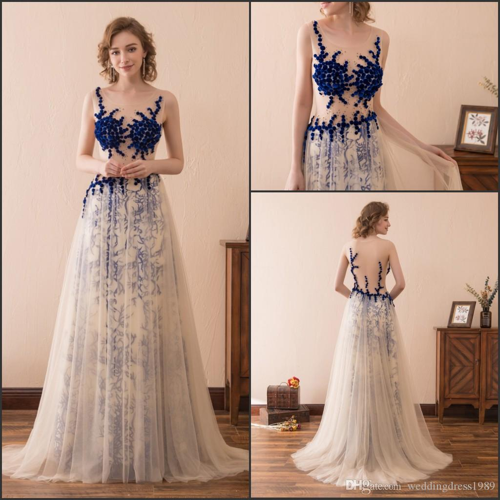 Trendy Illusion Bodice Blue Evening Dresses Gowns Sleeveless Wedding Guest Dress Sheer Stock 2-16 Long Party Dress Prom Formal Pageant
