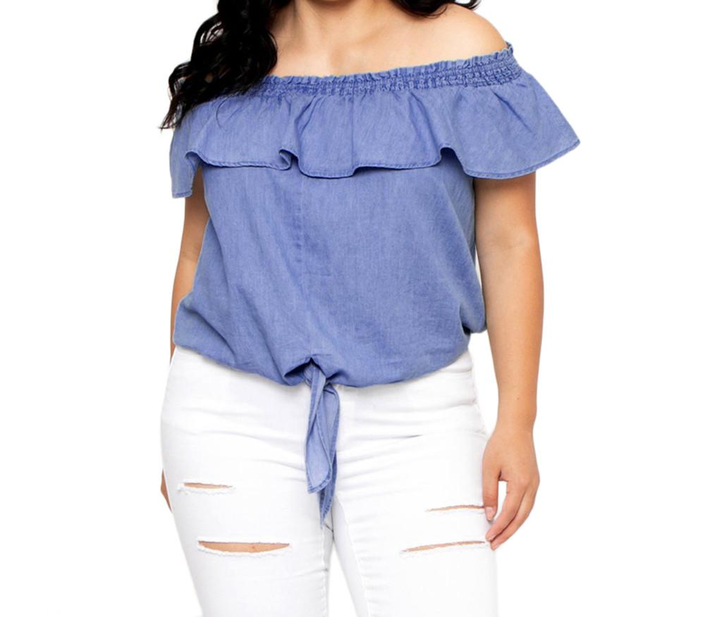 6c33ca3a12ee23 2019 Plus Size Summer Tops For Womens Tops And Blouses 2018 Denim Off  Shoulder Ruffle Shirts Tunic Front Tie Ladies Top Clothes From Sizhu