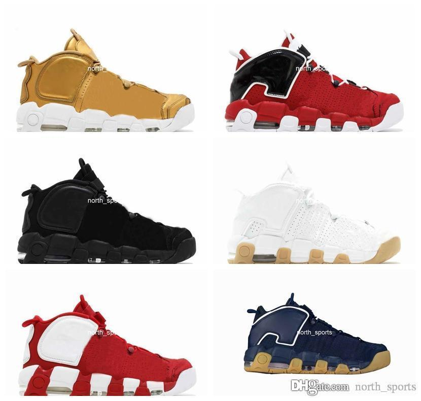 High Quality Air More Uptempo SUPTEMPO Basketball Shoes OLYMPIC RELEASE Bulls Gold Varsity Maroon Black Mens Women Scottie Pippen Shoe