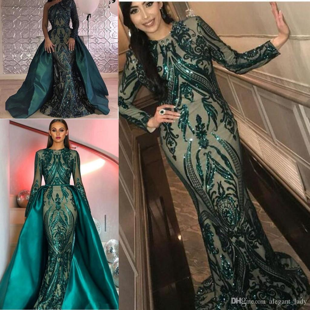 d7228035743 Hunter Green Sequins Prom Formal Dresses With Detachable Train 2018 Luxury  Puffy Skirt Mermaid Kim Kardashian Dubai Arabic Evening Gown Elegant Evening  ...
