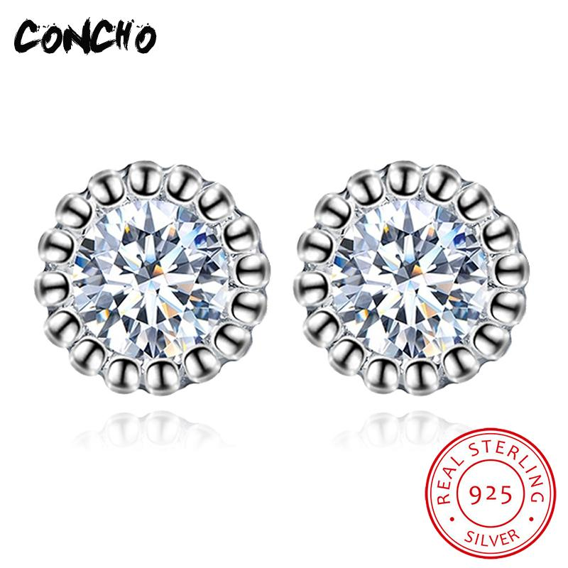 Concho Jewelry 925 Sterling Silver Round Zircon Stud Earrings For Women Wedding Party Gift 2018 Promotion Classic