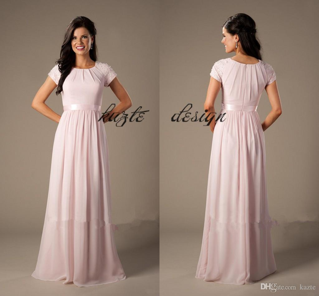 26b4047113 Beaded Pink Long Chiffon Modest Bridesmaid Dresses With Cap Sleeves Elegant  Evening Wedding Party Dresses A Line Length Latter Day Bride Gowns Long  Dresses ...