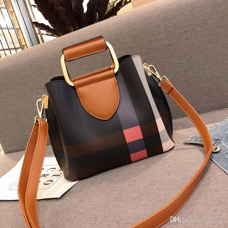 c68afd2f77 2018 China Style Plaid Leather Tote Bags Messenger Bags New Fashion ...