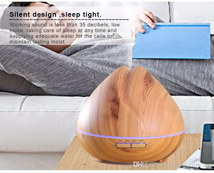 400ML aroma diffuser essential oil humidifier led night lamp air fresher elegant humidifier tabletop pp FCC ROHS EU US UK Plug