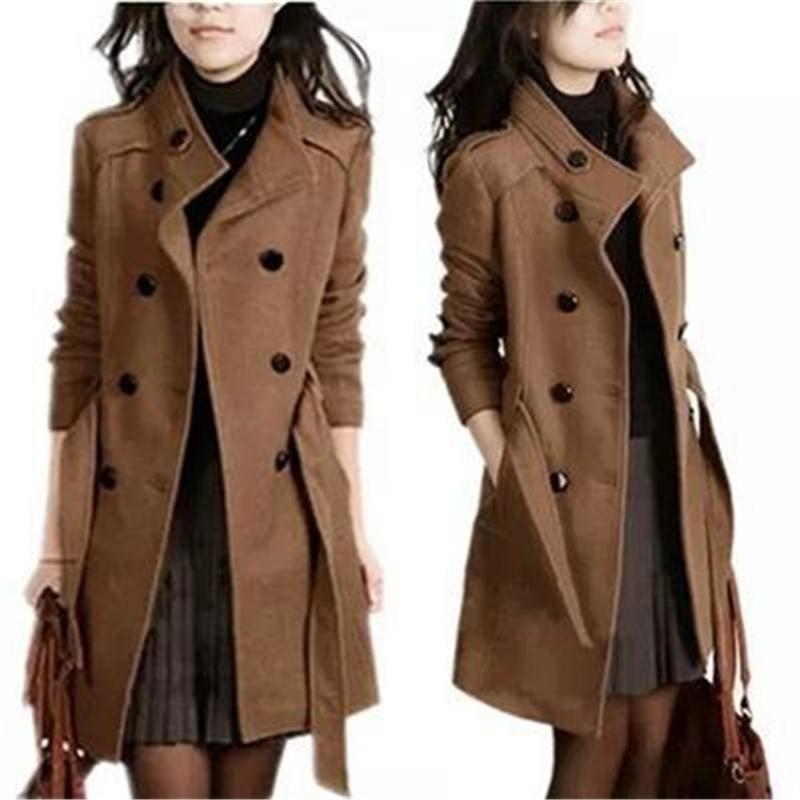 Cappotto di lana Donna Slim Casual Doppio petto Donna Doppio soprabito Trench Cappotto di lana Lungo tratto Capispalla ufficio