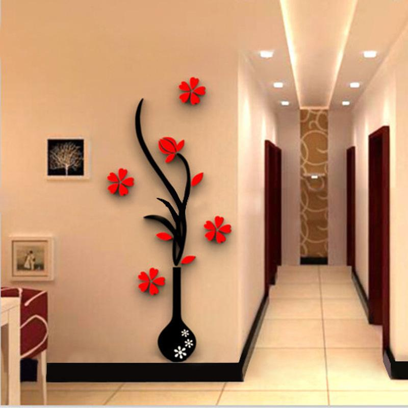 creative vase acrylic 3d wall stickers porch sofa tv background wall