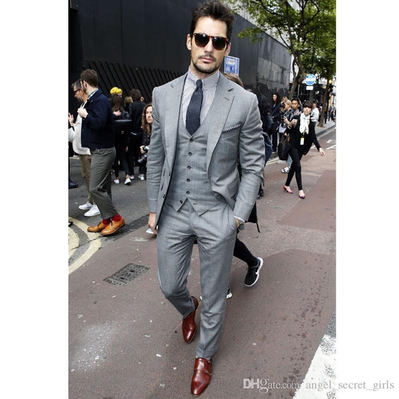 56e543aadf6 Custom men's light gray slim suit three-piece suit (jacket + pants + vest)  wedding groom groomsmen dress formal party men's suit