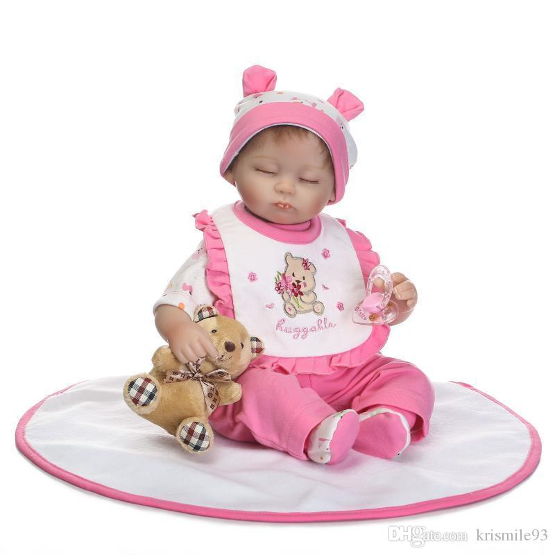 17inch newborn baby soft silicone vinyl reborn dolls lifelike newborn bebe Realistic doll 45cm real sleeping girl toy gift