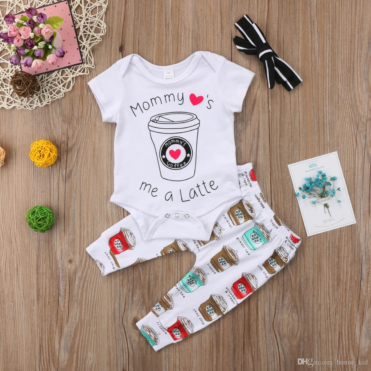 da0b04d92da 2019 Cute Newborn Baby Boy Girl Toddler Ice Cream Romper Top Long Pants  Leggings Headband Outfit Toddler Boys Girls Clothes Kid Clothing Set From  Bonne kid