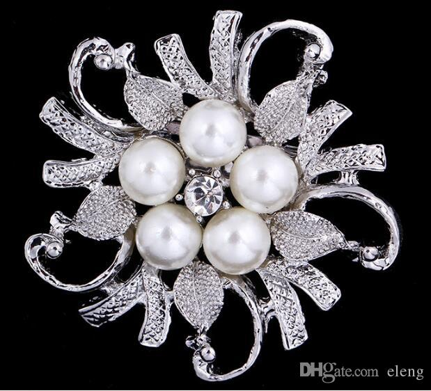 2018 Wedding Brooches Mix Silver Pearl Crystal Rhinestone Flower Bouquet Brooch Pins Best Gift 108