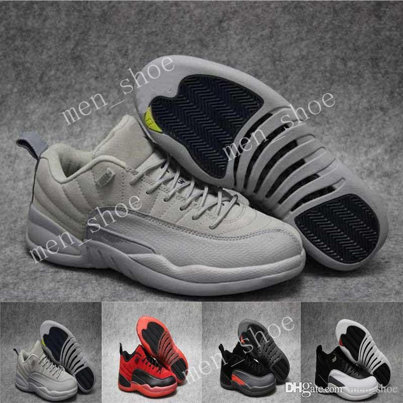 pretty nice 3246b d2d35 free shipping new air 12 basketball shoes low cool grey georgetown sneaker  Low playoff athletic white&black discount sport shoes