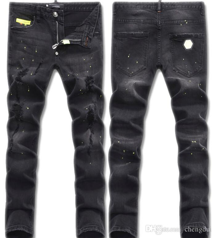 Brand Designer-Black gray main show men's pants, washed holes, Wang Dao fashionable small straight leg stretch jeans.