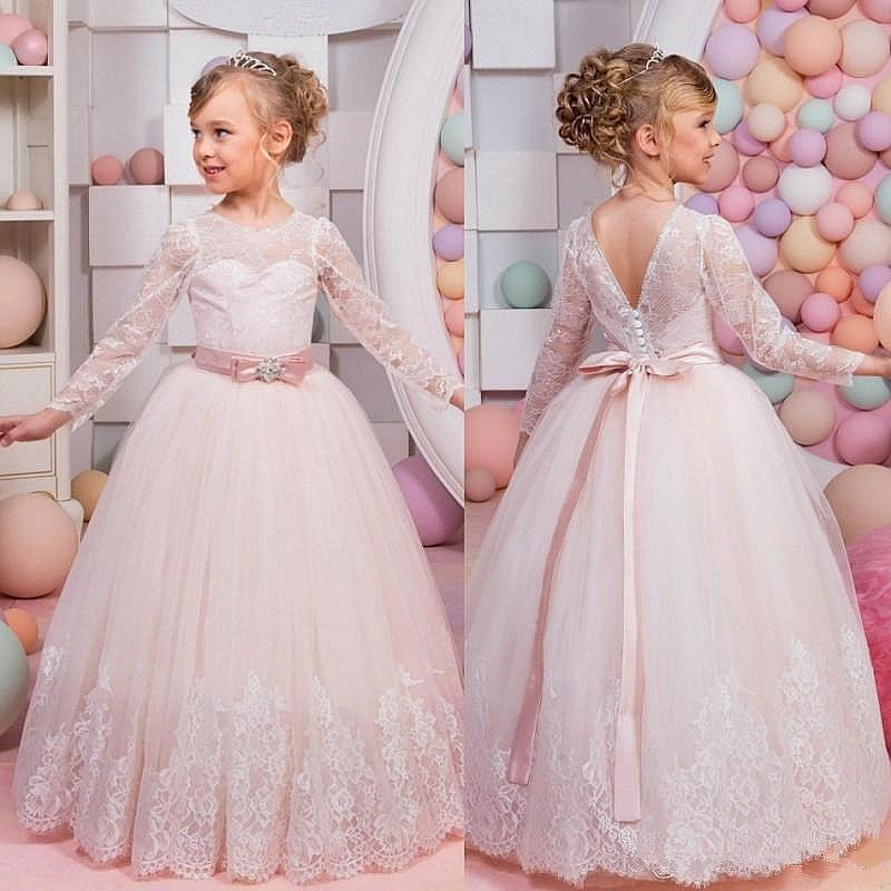 00e8fcca085c Light Pink Long Sleeve Lace Formal Tulle Cute Dance Flower Girl Dresses  Ball Gown Floor Length Little Kids Party Birthday Dress Toddler Flower Girl  Dresses ...