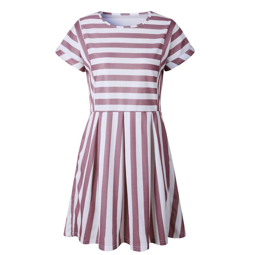 Good Quality Women S Dress Casual 2019 Summer Hot Sexy Striped Striped Round  O Neck Short Sleeve Slim Dress Mini Womens Summer Floral Dresses Womens  Black ... 1e5abc62a