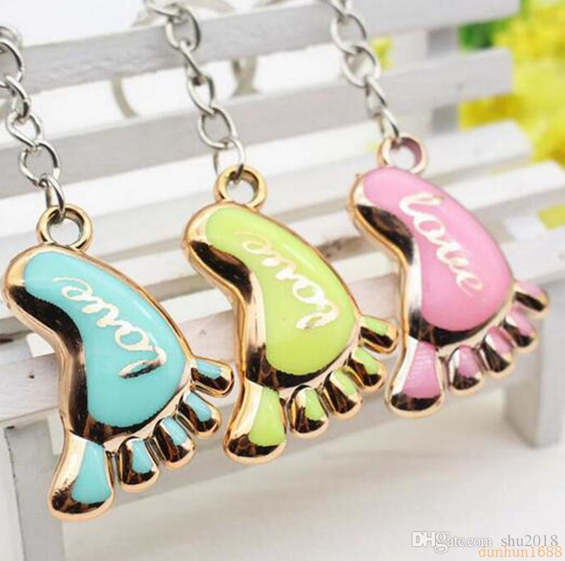 Cute Mini Foot Shaped Keychains Love Keyrings for Baby Shower Baptism Gifts Giveaway Souvenirs Z