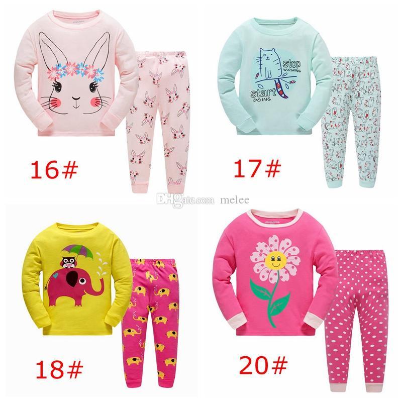 39750e9d18667 Acheter Pyjamas De Pyjama De Bande Dessinée Des Enfants De Noël Animaux De  Bande Dessinée De De Fleur Impriment Des Dessus De Rose De Bébé De Lapins  De ...