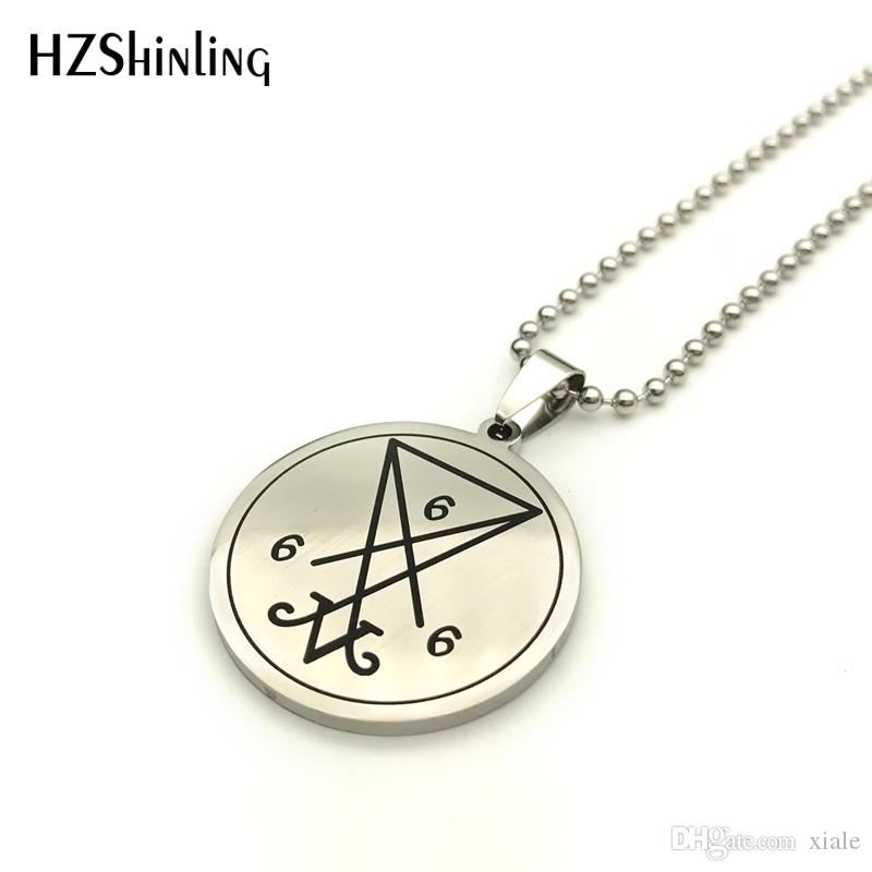 New Stainless Steel Satanic Sigil Of Lucifer Baphomet Lilith Pentagram Pendant Necklace Satanism Jewelry Ball Chain SS-0017