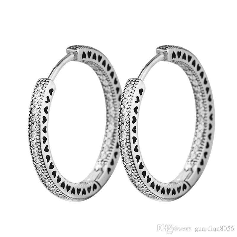 e8a21486a 2019 2018 New 925 Sterling Silver Hearts Sparkle Hoop Pandora Earrings For  Women Original Jewelry Making Anniversary Gift Wholesale From Guardian8056,  ...