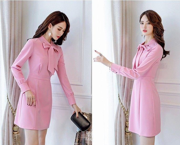689157f1986 Graceful Long Sleeve Bowknot Korean Style A-line Casual Lovely Spring Slim  Dress Online with  12.35 Piece on Angelsdress s Store