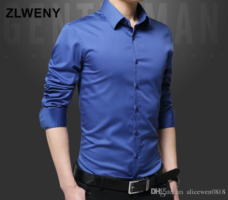 21dc0163605 2019 100% Silk Cotton Men S Shirts 2018 Autumn New Arrival British Style Business  Long Sleeve Solid Male Business Slim Fit Shirt M 5XL From Alicewen0818