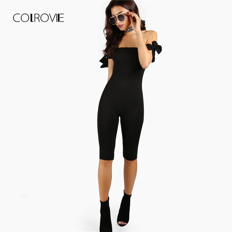 e9a0ccf1098 2019 COLROVIE Black Mid Waist Knot Tube Top Capri Length Jumpsuit Women  2018 Summer Skinny Stretchy Off The Shoulder Sexy Jumpsuit From Cashmere52